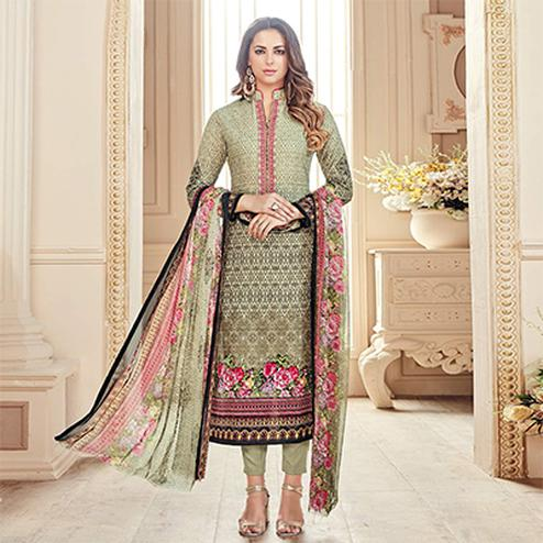 Cool Light Olive Green Colored Designer Pure Cambric Cotton Suit