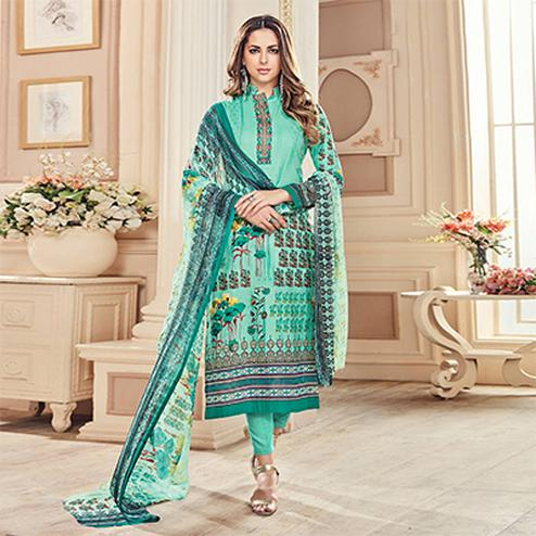 Trendy Turquoise Colored Designer Pure Cambric Cotton Suit