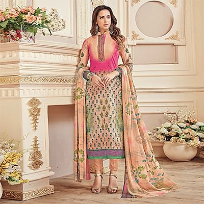 Stylish Peach Colored Designer Pure Cambric Cotton Suit