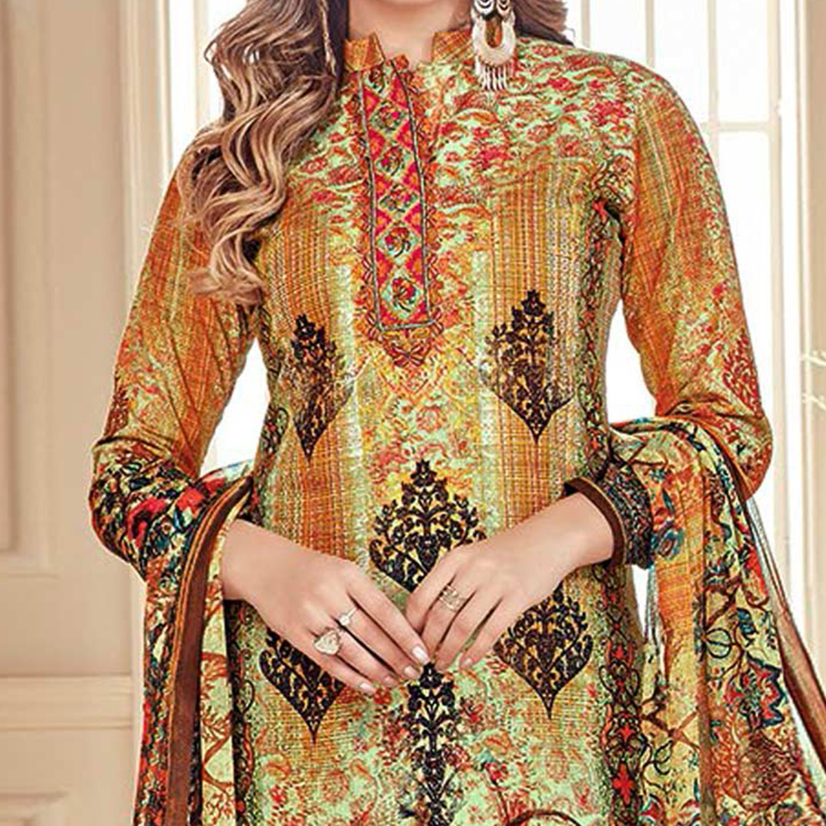 Amazing Multi Colored Designer Pure Cambric Cotton Suit