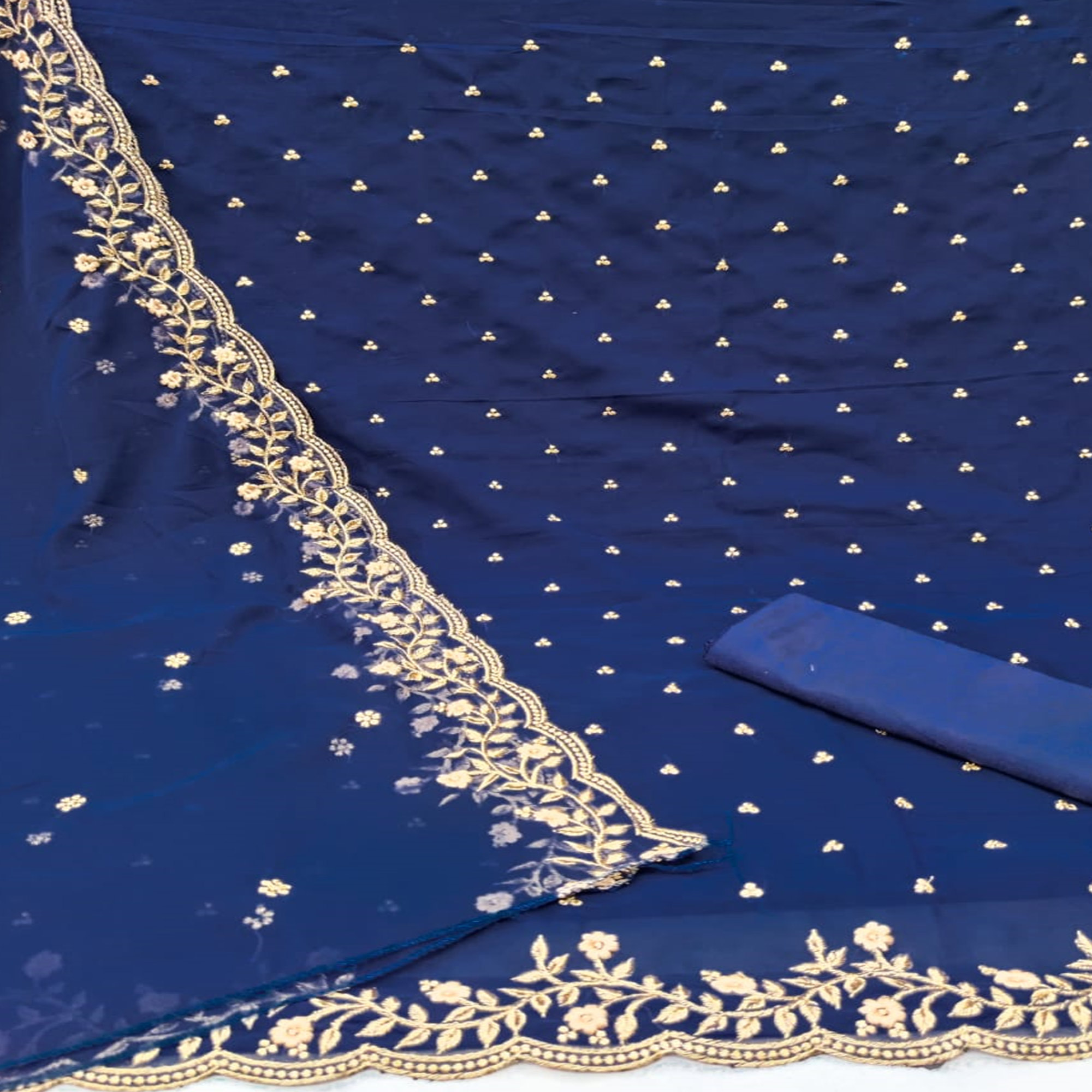 Navy Blue Casual Wear Floral Embroidered Georgette Dress Material