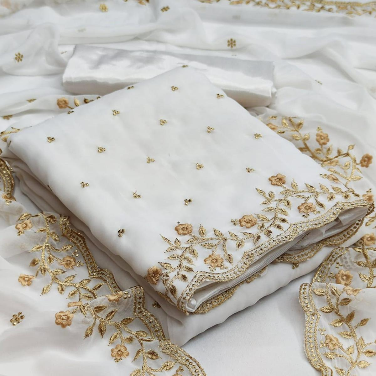 White Partywear Floral Embroidered Georgette Dress Material