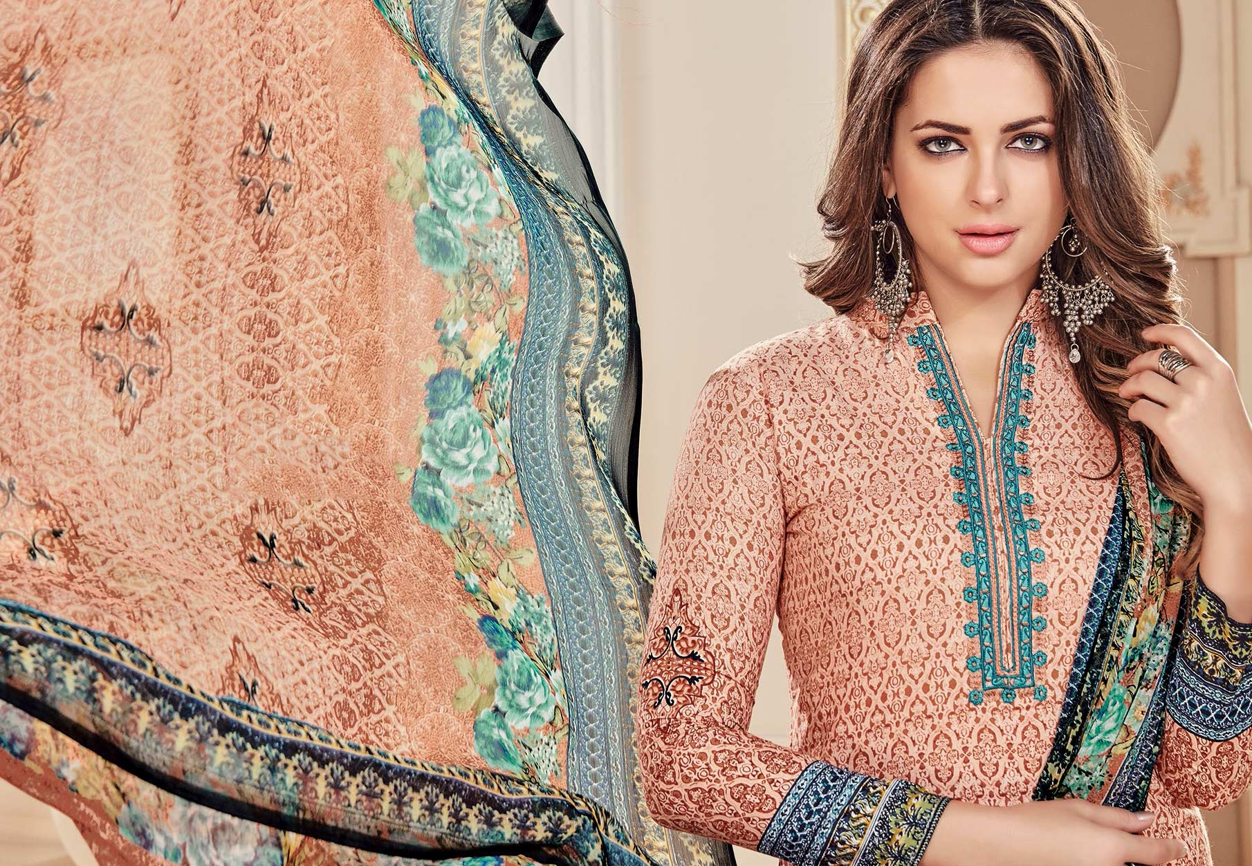 Sizzling Peach Colored Designer Pure Cambric Cotton Suit