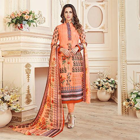 Elegant Dark Peach Colored Designer Pure Cambric Cotton Suit