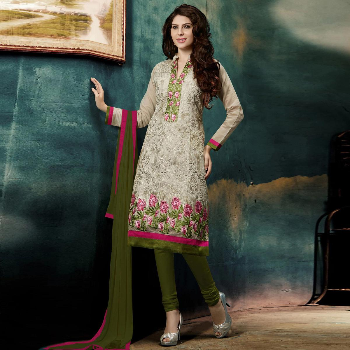 Blissta Grey Casual Wear Floral Embroidered Chanderi Dress Material
