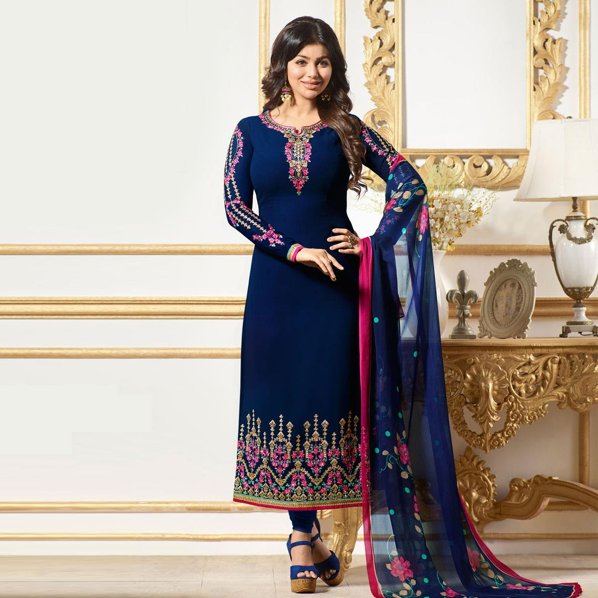 Impressive Blue Colored Designer Embroidered Georgette Salwar Suit
