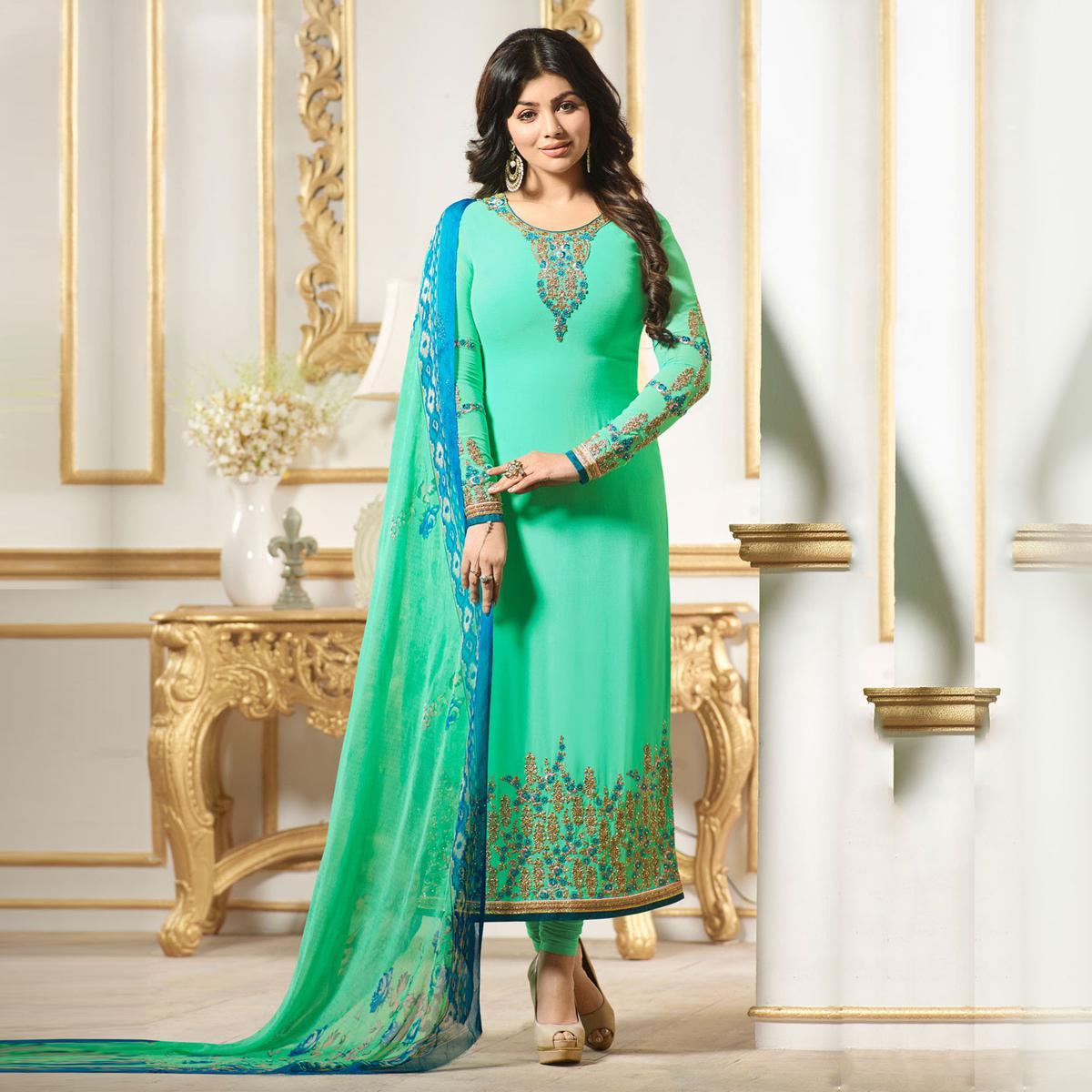 Gratifying Pista Colored Designer Embroidered Georgette Salwar Suit
