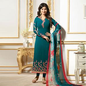 Exotic Teal Colored Designer Embroidered Georgette Salwar Suit