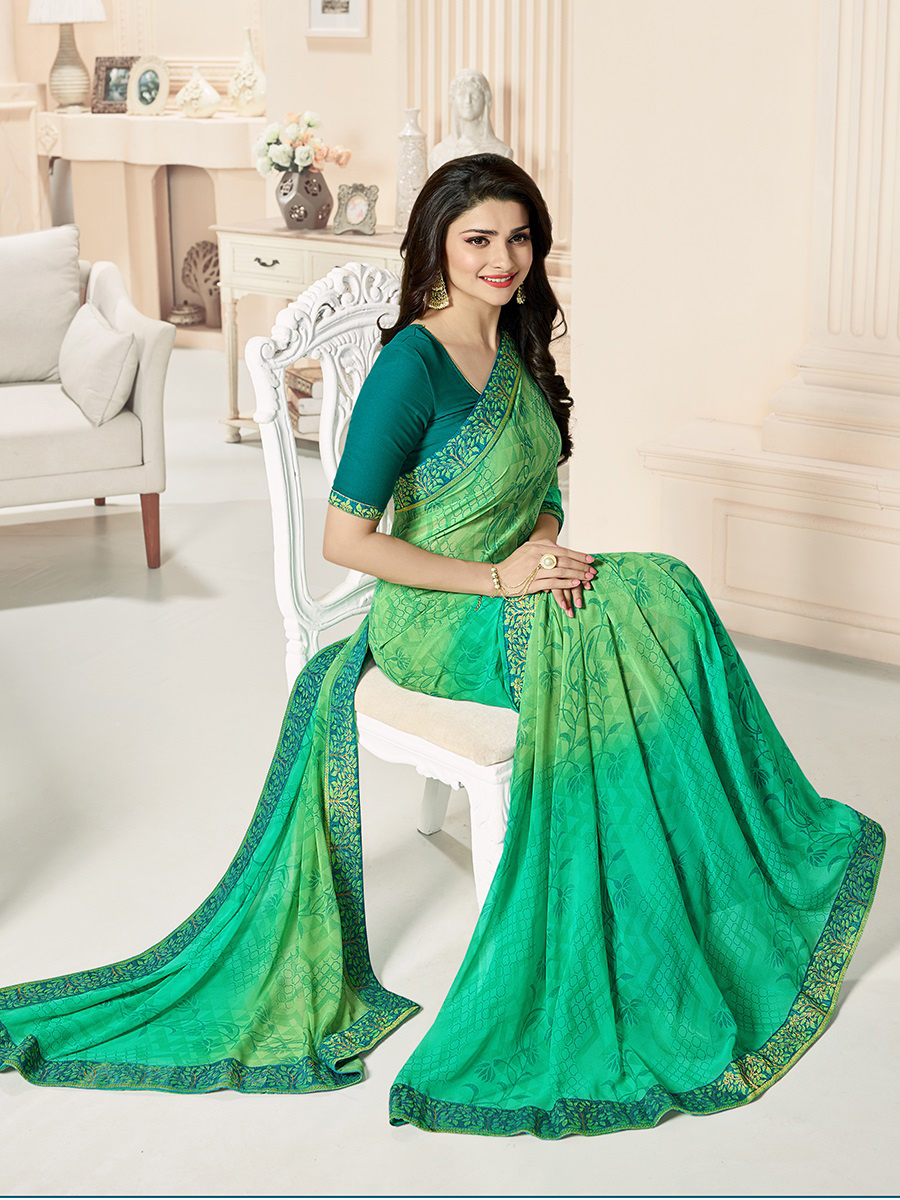 Shaded Green Digital Printed Saree