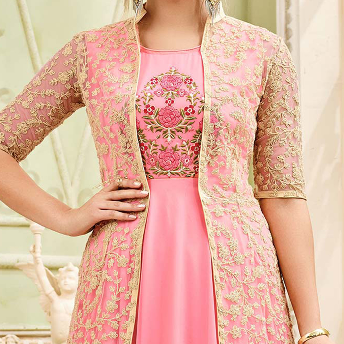 Graceful Pink Designer Embroidered Partywear Georgette Anarkali Suit