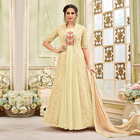Appealing Cream Designer Embroidered Partywear Georgette Anarkali Suit