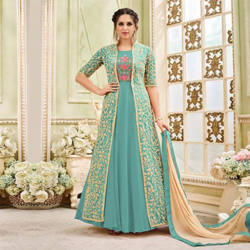 Charming Turquiose Designer Embroidered Partywear Georgette Anarkali Suit