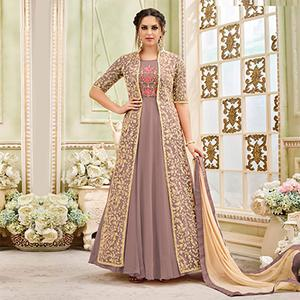 Blooming Light Lavender Designer Embroidered Partywear Georgette Anarkali Suit