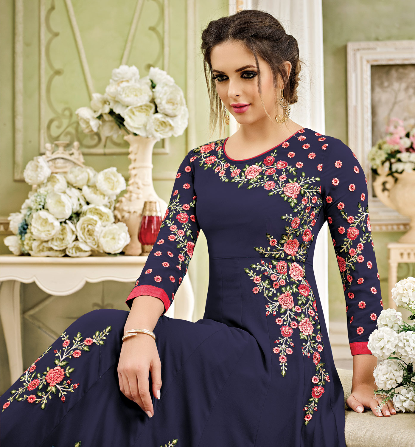 Marvellous Blue Designer Embroidered Partywear Georgette Anarkali Suit