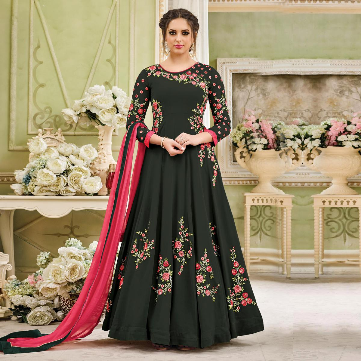 Stunning Olive Green Designer Embroidered Partywear Georgette Anarkali Suit