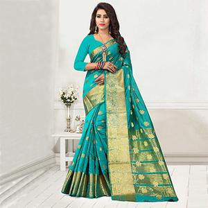 Groovy Aqua Green Colored Festive Wear Cotton Silk Woven Saree