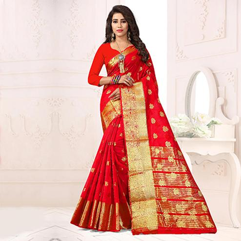 Hot Red Colored Festive Wear Cotton Silk Woven Saree
