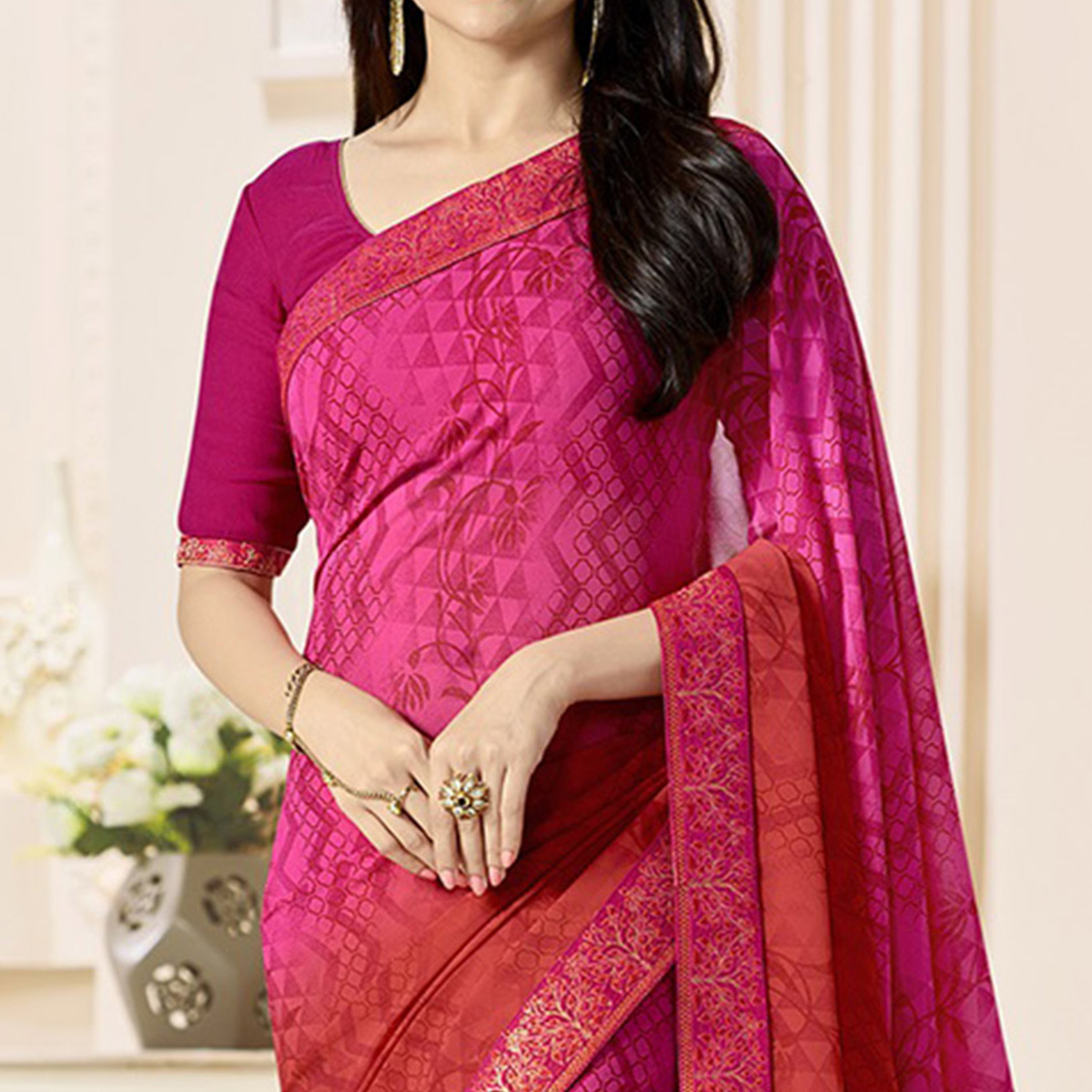 Red - Pink Georgette Printed Saree