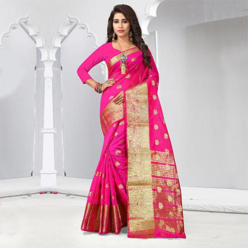 Pretty Pink Colored Festive Wear Cotton Silk Woven Saree