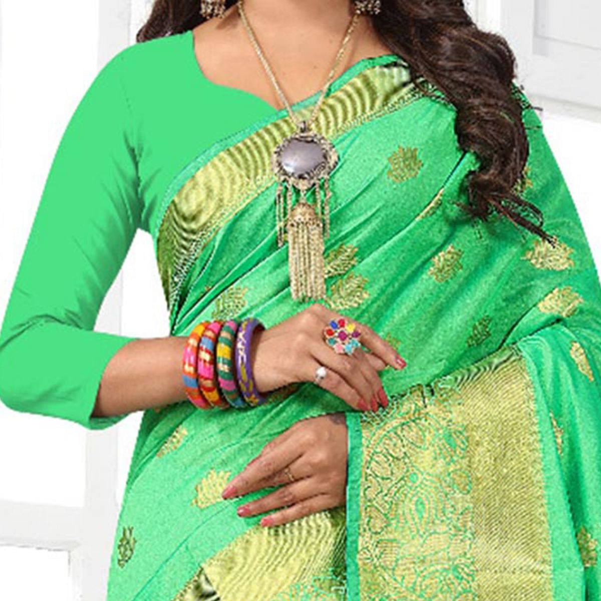 Gorgeous Green Colored Festive Wear Cotton Silk Woven Saree