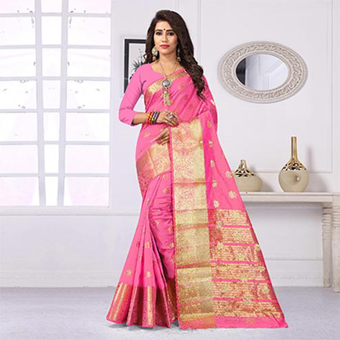 Beautiful Light pink Colored Festive Wear Cotton Silk Woven Saree