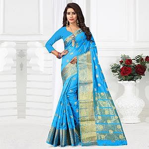 Dazzling Sky Blue Colored Festive Wear Cotton Silk Woven Saree