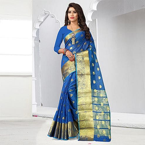 Attractive Blue Colored Festive Wear Cotton Silk Woven Saree