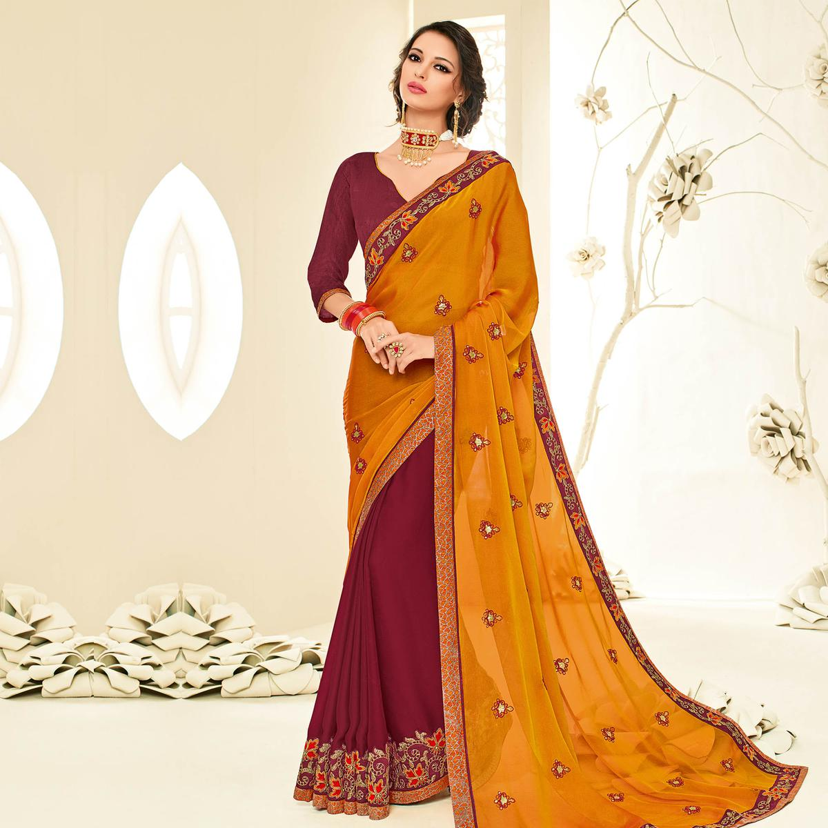 Adorable Orange - Maroon Embroidered Party Wear Half & Half Saree
