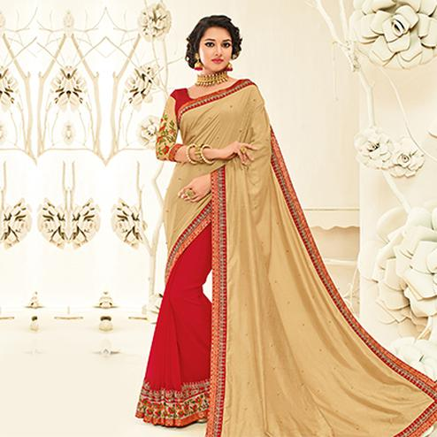 Beautiful Beige - Maroon Embroidered Party Wear Half & Half Saree