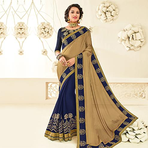 Gorgeous Beige - Violet Embroidered Party Wear Half & Half Saree