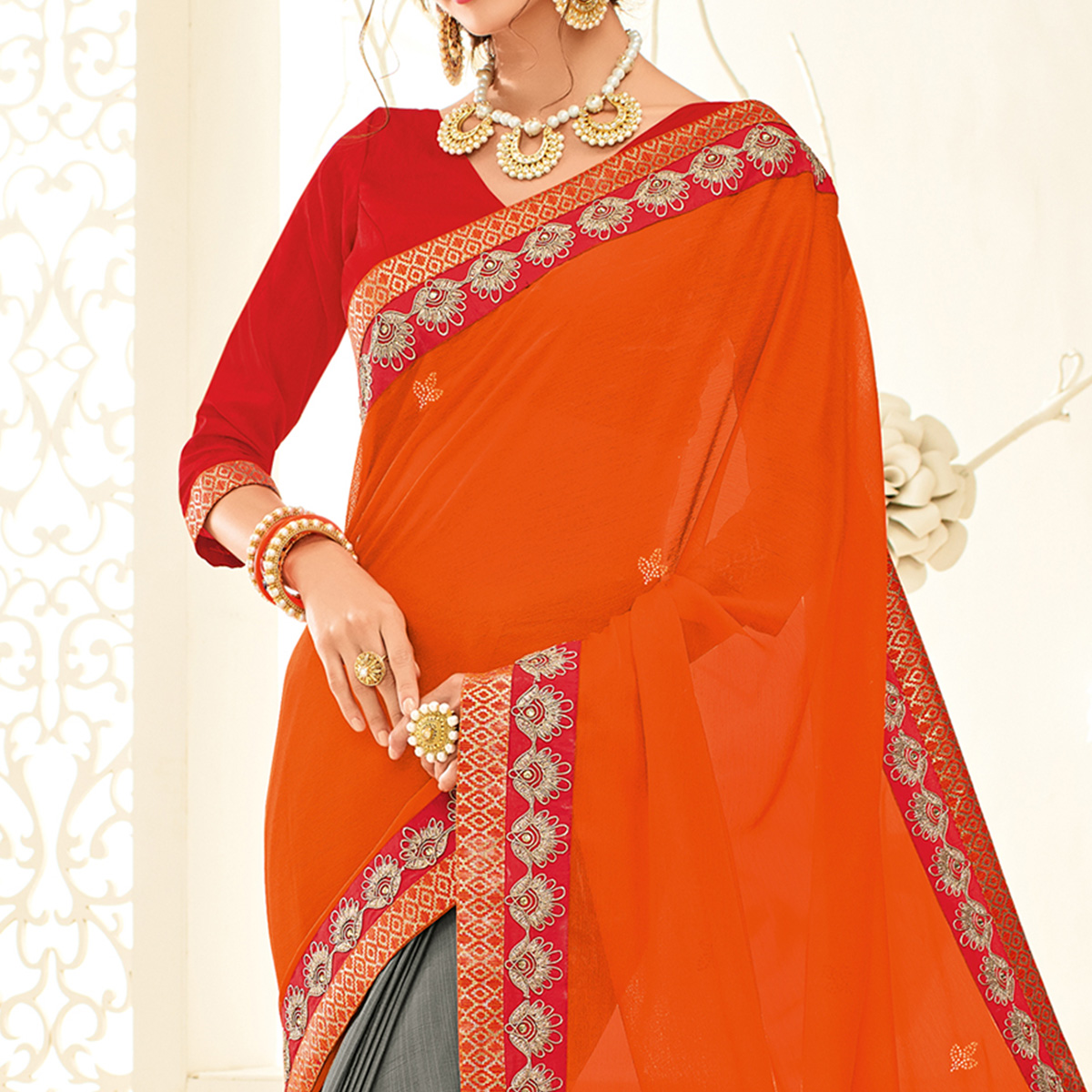 Classy Orange - Grey Embroidered Party Wear Half & Half Saree