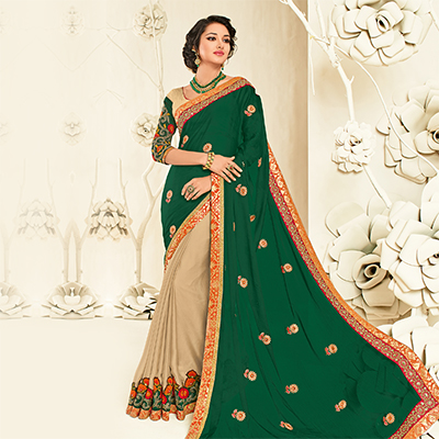 Glorious Green - Beige Embroidered Party Wear Half & Half Saree