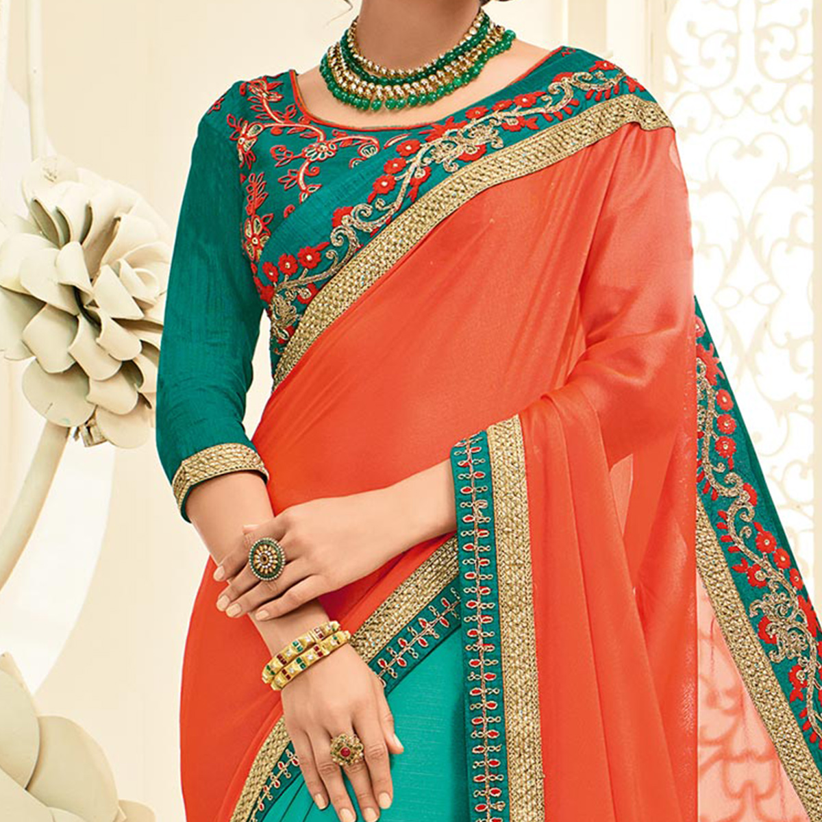 Attractive Orange - Green Embroidered Party Wear Half & Half Saree