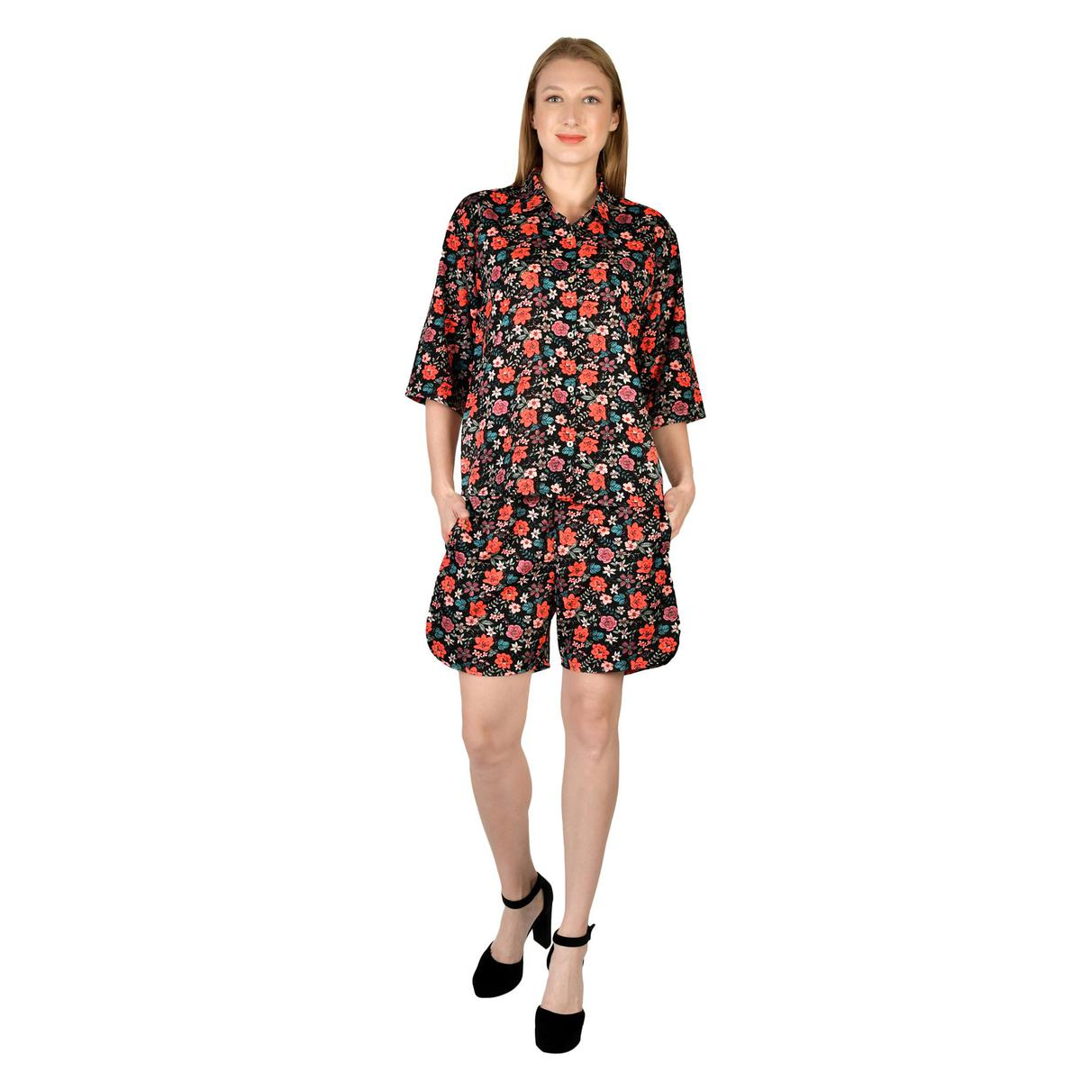 Henry And Zoe - Multi Colored Floral Polyester Night Suit
