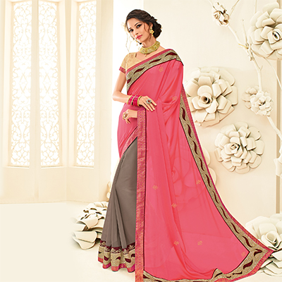 Graceful Pink - Brown Embroidered Party Wear Half & Half Saree