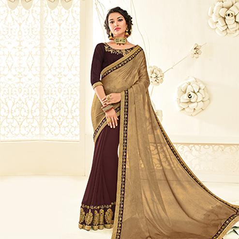 Lovely Biege - Maroon Embroidered Party Wear Half & Half Saree