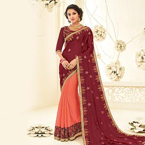Pretty Maroon - Orange Embroidered Party Wear Half & Half Saree