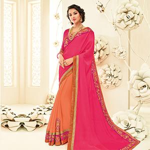 Charming Pink - Orange Embroidered Party Wear Half & Half Saree