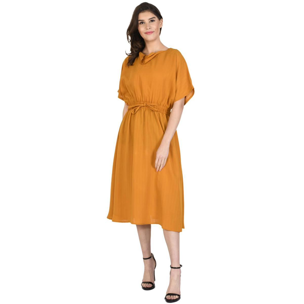 Henry And Zoe - Mustard Colored Polyester Dress