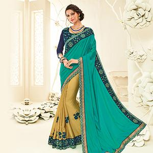 Ravishing Green - Beige Embroidered Party Wear Half & Half Saree