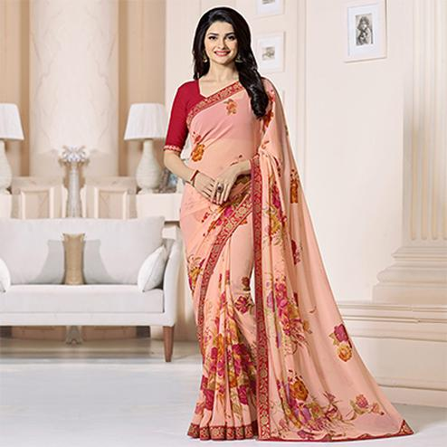 Peach Floral Printed Casual Wear Saree