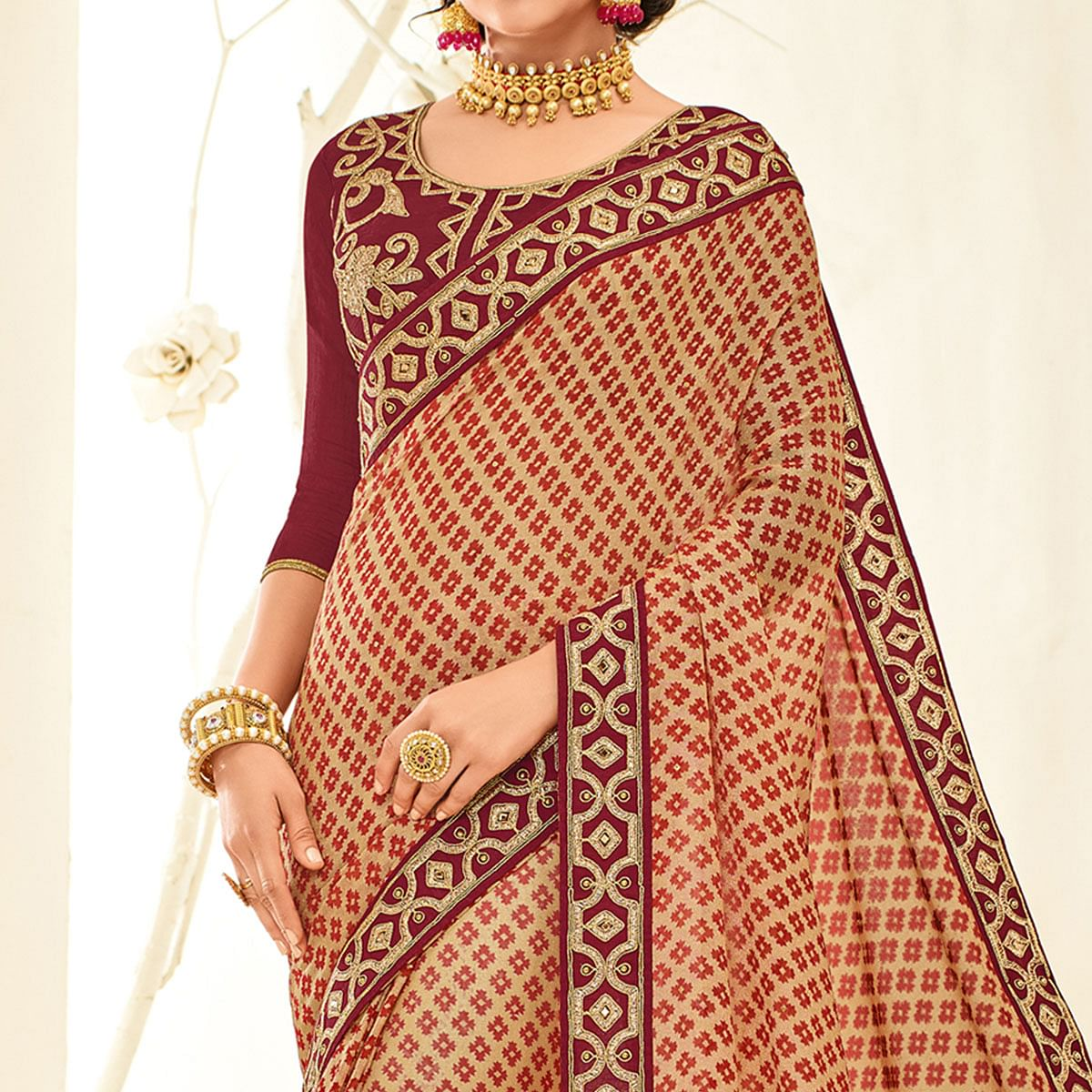 Delightful Maroon - Beige Embroidered Party Wear Half & Half Saree