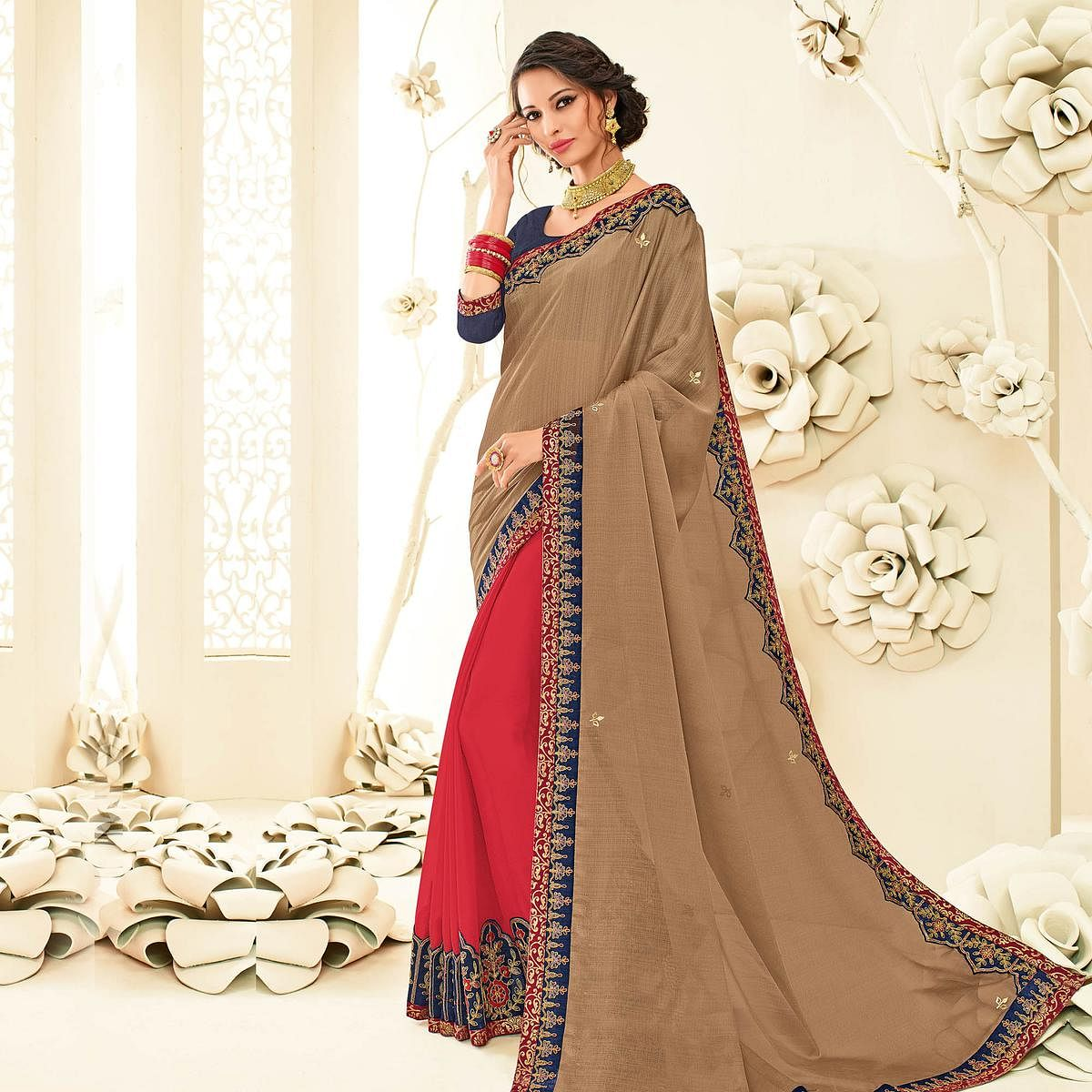 Blooming Brown - Red Embroidered Party Wear Half & Half Saree