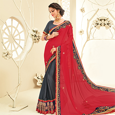 Ravishing Red - Grey Embroidered Party Wear Half & Half Saree