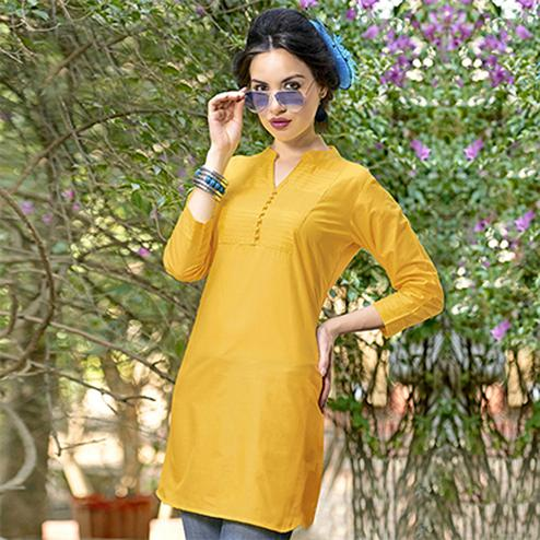 Yellow Colored Plain Casual Cotton Short Kurti