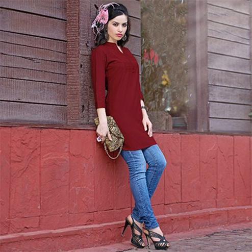 Maroon Colored Plain Casual Cotton Short Kurti
