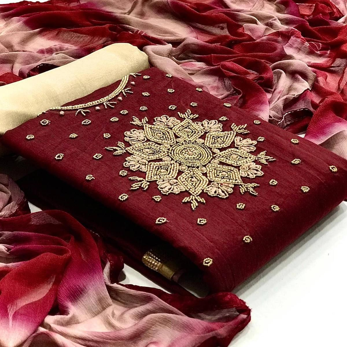 Maroon Casual Wear Embroidered Modal Dress Material