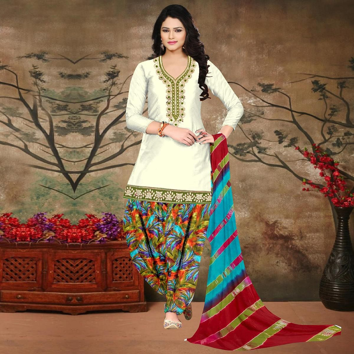 Off White-Green Colored Embroidered Partywear Salwar Suit