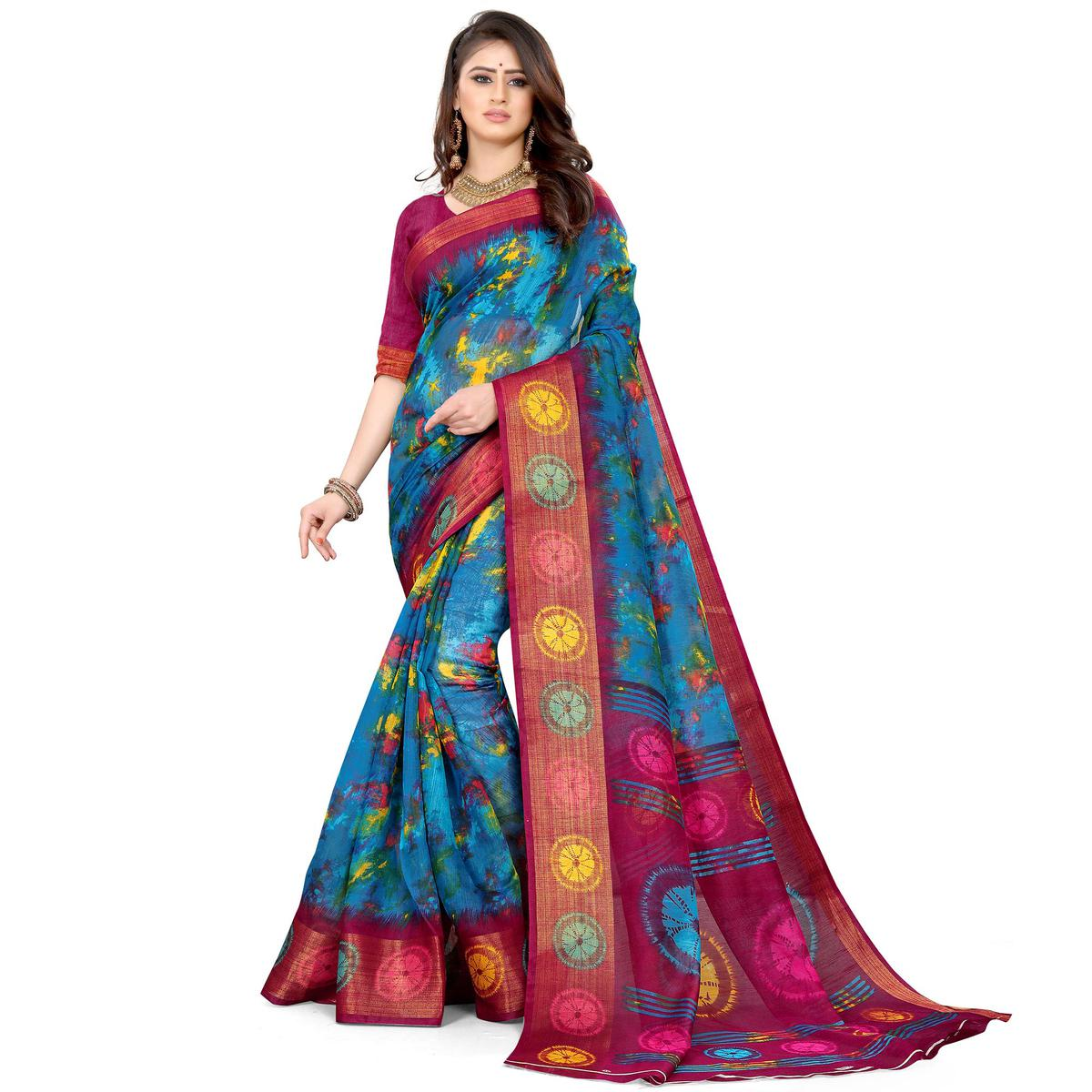 Blue Casual Wear Abstract Printed Cotton Linen Saree
