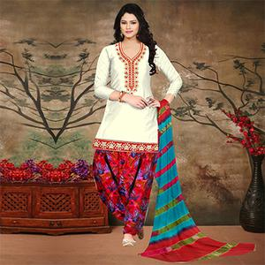 Off White-Red Colored Embroidered Partywear Salwar Suit